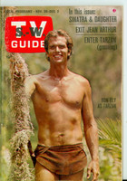 1966 TV Guide Nov 26 Ron Ely of Tarzan Scranton-Wilkes Barre edition Very Good to Excellent - No Mailing Label  [Scuffing on cover, ow clean]