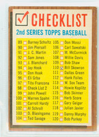 1962 Topps Baseball 98 Checklist Two Fair to Poor