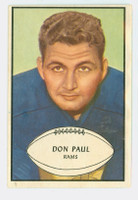 1953 Bowman Football 47 Don Paul Single Print Los Angeles Rams Excellent to Excellent Plus