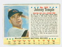 1963 Post Baseball 189 Johnny Temple Houston Colts Fair to Good