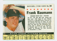 1961 Post Baseball 34 Frank Baumann BOX  Chicago White Sox Good to Very Good