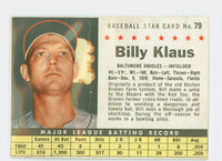 1961 Post Baseball 79 Billy Klaus BOX  Baltimore Orioles Fair to Poor