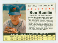 1961 Post Baseball 89 Ken Hamlin BOX NO SOLD  Kansas City Athletics Very Good