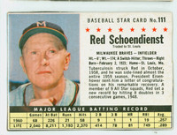 1961 Post Baseball 111 Red Schoendienst BOX  Milwaukee Braves Good to Very Good