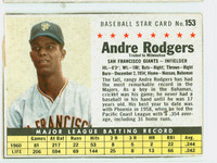 1961 Post Baseball 153 Andre Rodgers BOX TRD  San Francisco Giants Good to Very Good