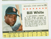 1961 Post Baseball 176 Bill White BOX  St. Louis Cardinals Fair to Poor