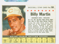 1961 Post Baseball 190 Billy Martin BOX No Sold  Cincinnati Reds Good to Very Good