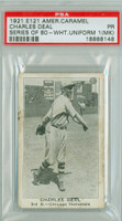 E121 Amer Caramel 80 Series Charles Deal WHITE  Chicago Cubs PSA 1 MK