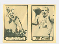 1962 Topps CFL 99 Dick Desmarais - Russ Jackson Panel Fair to Good
