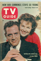 1960 TV Guide Mar 19 Raymond Burr and Barbara Hale of Perry Mason Iowa edition Very Good to Excellent - No Mailing Label  [Toning and lt wear on cover, fraying on tip of corner; contents fine]