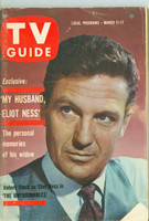 1961 TV Guide Mar 11 Robert Stack of The Untouchables Wisconson edition Very Good to Excellent - No Mailing Label  [Wear and scuffing on cover, creasing; contents fine]