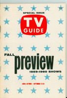1959 TV Guide Sep 19 Fall Preview Southern Ohio edition Excellent - No Mailing Label  [Lt wear on cover, ow clean]