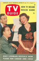 1953 TV Guide Jul 31 Sid Caesar and Imogene Coca Mid States edition Very Good to Excellent - No Mailing Label  [Lt wear and scuffing on cover]