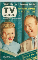 1953 TV Guide Sep 11 Joan Caulfield and Ralph Edwards on This Is Your Life Detroit edition Very Good to Excellent  [Lt wear on cover; ow clean, label on reverse]