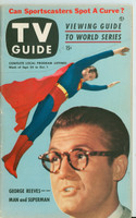 1953 TV Guide Sep 25 George Reeves as Superman Washington-Baltimore edition Very Good - No Mailing Label  [Sl wear along binding, stray pencil marks on cover; ow clean]