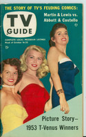 1953 TV Guide Oct 16 Beauty Contest Winners (Angie Dickinson) Philadelphia edition Excellent - No Mailing Label  [Lt wear and toning on covers, contents fine]