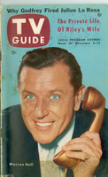 1953 TV Guide Nov 6 Warren Hull of Strike It Rich NY Metro edition Fair to Good - No Mailing Label  [Very heavy curl along binding; cover wear, contents fine]