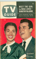1953 TV Guide Nov 20 Julius LaRosa and Dorothy McGuire Illinois edition Very Good  [Wear and lt creasing on cover, contents fine; label stamped on reverse]
