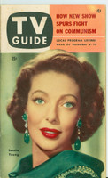 1953 TV Guide Dec 4 Loretta Young Pittsburgh edition Very Good - No Mailing Label  [Wear and scuffing on cover, lt staining, contents fine]