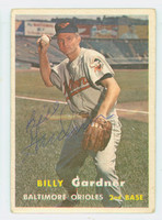 Billy Gardner AUTOGRAPH 1957 Topps #17 Orioles CARD IS CLEAN VG