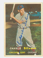Charlie Silvera AUTOGRAPH 1957 Topps #255 Cubs CARD IS F/P