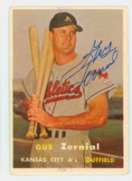 Gus Zernial AUTOGRAPH d.11 1957 Topps #253 Athletics CARD IS G/VG; AUTO CLEAN