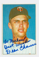 Dean Chance AUTOGRAPH d.15 1977-78 Twins Team Issue PERS