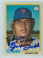 Jackson Todd AUTOGRAPH 1978 Topps #481 Mets PERSONALIZED