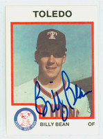 Bill Bean AUTOGRAPH 1987 Pro Cards Toledo Mud Hens 