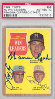 Warren Spahn TRIPLE SIGNED d.03 1962 Topps #58 NL Pitching Ldrs PSA/DNA 