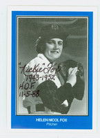 Helen Nicol Fox AUTOGRAPH AAGBL 1940s-50s Woman's Baseball League 