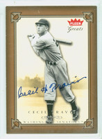 Cecil Travis AUTOGRAPH d.06 2005 Fleer Greats of the Game Senators 