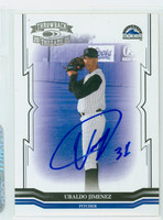 Ubaldo Jimenez AUTOGRAPH 2005 Donruss Throwback Threads Rockies 
