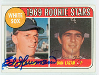 Herrmann-Lazar DUAL SIGNED d.14 1969 Topps White Sox Rookies #439 White Sox CARD IS CLEAN EX  [SKU:HerrE642_T69BBDRK]
