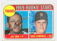 Cain-Campbell DUAL SIGNED 1969 Topps Tigers Rookies #324 Tigers CARD IS F/G, RND CRNS, AUTOS CLEAN  [SKU:CainL1086_T69BBDRK]