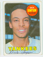 Dick Simpson AUTOGRAPH 1969 Topps #608 Yankees CARD IS F/G, RND CRNS, AUTO CLEAN  [SKU:SimpD1290_T69BBK]