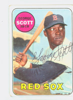 George Scott AUTOGRAPH d.13 1969 Topps #574 Red Sox CARD IS F/G, RND CRNS, AUTO CLEAN