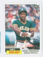 1984 Topps Baseball 2 Rickey Henderson HL Near-Mint Plus