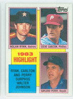 1984 Topps Baseball 4 Carlton/Perry/Ryan HL Near-Mint Plus