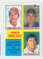 1984 Topps Baseball 6 Bench/Perry/Yastrzemski HL Near-Mint to Mint