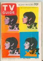 1966 TV Guide Mar 5 Barbara Feldon of Get Smart - Cover by Andy Warhol Montana edition Very Good - No Mailing Label  [Sl wear at staples, heavy toning on cover, contents fine]