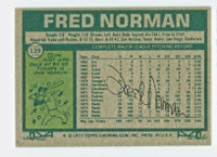Fred Norman 1977 Topps #139 Reds Back Signed 