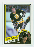 1984-85 Topps Hockey Keith Crowder Single Print Boston Bruins Near-Mint to Mint