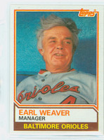 1983 Topps Baseball 426 Earl Weaver Baltimore Orioles Near-Mint to Mint