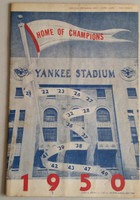 1950 Yankees Program vs Red Sox (24 pg) Unscored Very Good to Excellent [Lt wear, minor staining on cover and scorecard]