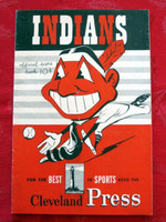 1950 Indians Game Program vs Yankees (20 pg) Scored August 6 - Lemon vs Byrne (NY 9-0, HR Martin) Excellent [Lt wear on cover, sl creasing on reverse cover; contents great]