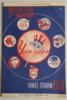 1951 Yankees Program vs Red Sox (24 pg) Unscored Series Played June 29-July 1 (Mantle Rookie Season - wore #6) Very Good [Lt wear and small hole on cover, lt wear, ow clean]