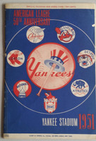 1951 Yankees Program vs Indians (24 pg) Scored Sep 17 Lopat vs Lemon (NY 2-1, Lopat Wins #20, rookie Mantle #7) Very Good to Excellent [Lt wear on cover, tape along binding, w/orig NYT recap]