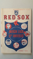 1951 Red Sox Program vs Tigers (24 pg) Scored Aug 4 Kiely vs Hutchinson (Det 2-1, Groth 2 run HR in 9th) Excellent [Sl compact fold ow very clean, neatly scored]