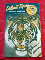 1951 Tigers Program vs Indians (16 pg) Scored 7 1/2 INN - Trucks vs Garcia (Det 9-1, HR Wertz #27) Excellent [Sl wear and scuffing on cover]